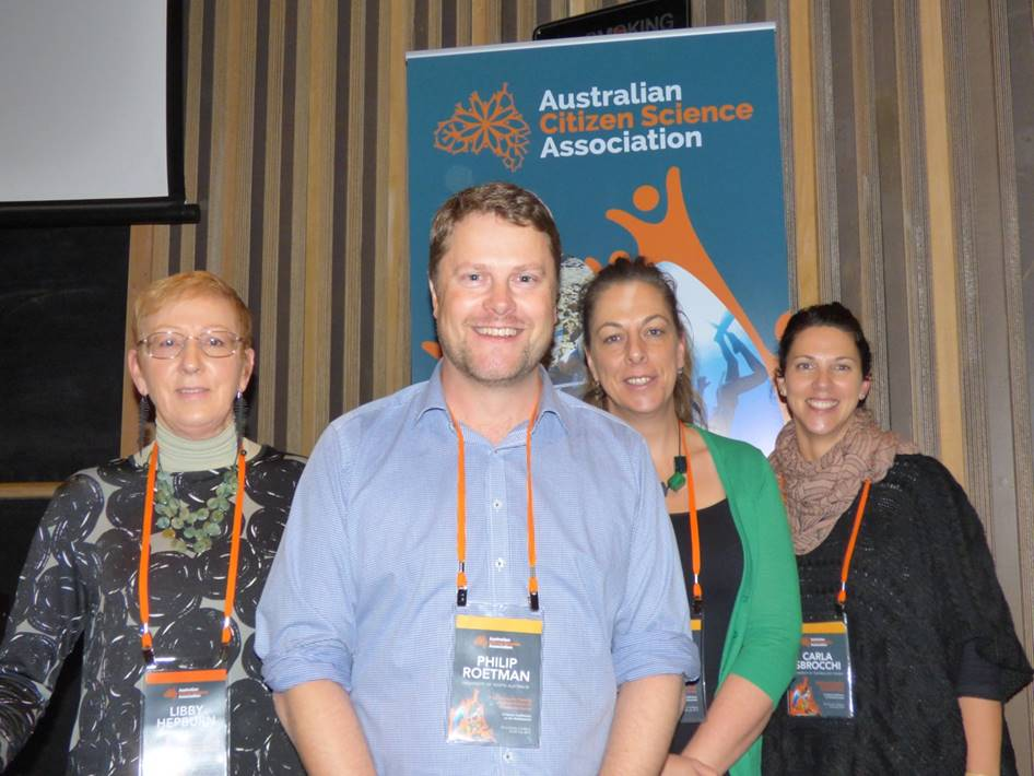 Members of the Conference organizing committee (L-R): Libby Hepburn (Atlas of Life in the Coastal Wilderness), Philip Roetman (Discovery Circle, University of South Australia), Gretta Pecl (Institute of Antarctic Studies, University of Tasmania), Carla Sbrocchi (University of Technology Sydney). Not pictured: John La Salle (Atlas of Living Australia)