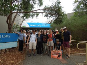 Gathering for a tour of the Mount Lofty summit